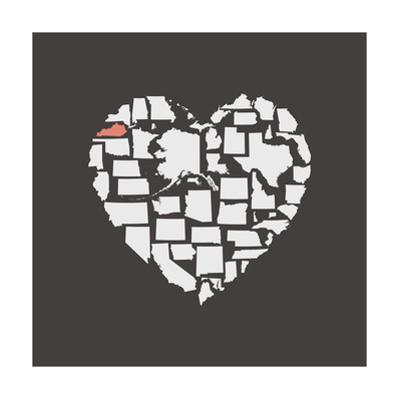 Black USA Heart Graphic Print Featuring Kentucky by Kindred Sol Collective