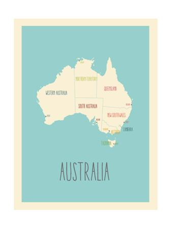 Blue Australia Map by Kindred Sol Collective