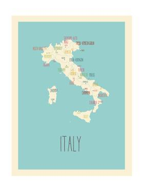 Blue Italy Map by Kindred Sol Collective