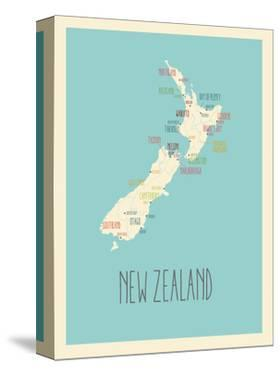 Blue New Zealand Map by Kindred Sol Collective