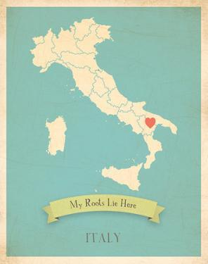 Italy My Roots Map, blue version (includes stickers) by Kindred Sol Collective