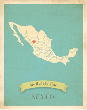 Mexico My Roots Map, blue version (includes stickers) by Kindred Sol Collective