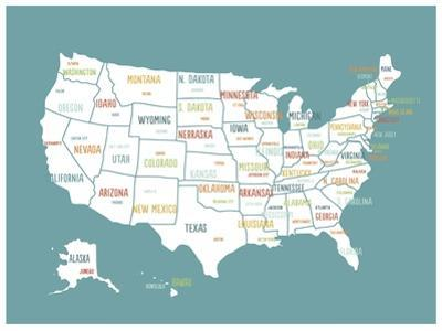 Turquoise USA Map by Kindred Sol Collective