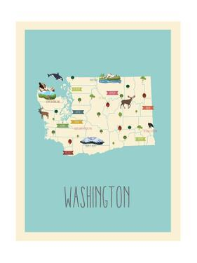 Washington Blue Map by Kindred Sol Collective