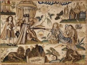 King Ahasuerus and Queen Esther, C.1660 (Silk, Metallic Yarns and Isinglass)