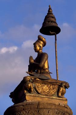King Bupatindra Mala Statue in Bhaktapur (Or Bhadgaon), Kathmandu Valley, Nepal