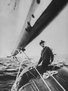 King Constantine Ii of Greece Sailing in His Boat