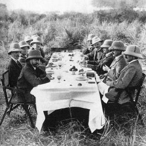 King George V (1865-193) Having Lunch after Tiger Hunting in Nepal, 1911