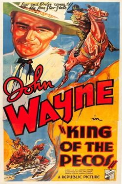KING OF THE PECOS, John Wayne on poster art, 1936.