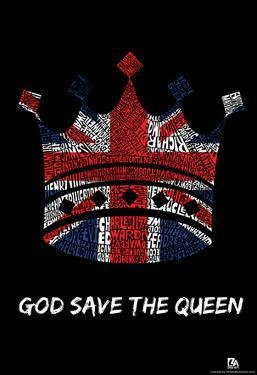Kings and Queens of Great Britain Text Poster