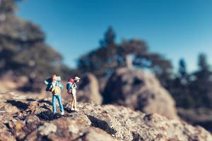 Miniature Hikers with Backpacks by Kirill_M