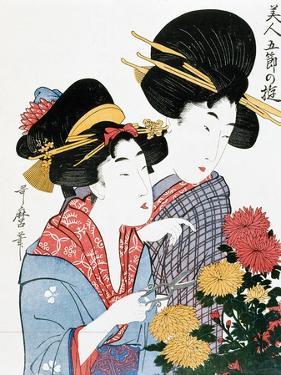 Chrysanthemums, Ukiyo-e print, Japan by Kitagawa Utamaro