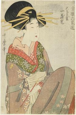 Courtesan Hitomoto of the Daimonjiya House, 1801-1802 by Kitagawa Utamaro