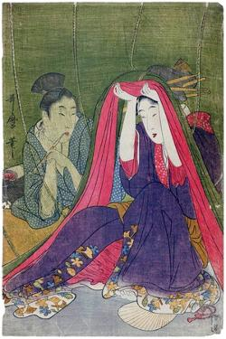 Japan: a Couple, the Man Smoking a Pipe and a Woman Lifting the Mosquito Net by Kitagawa Utamaro