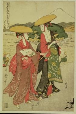 P.355-1945 Scene 8, Comparison of Celebrated Beauties and the Loyal League, C.1797 by Kitagawa Utamaro