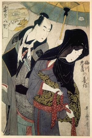 The Lovers, Chubei and Umegawa, Late 18th-Early 19th Century by Kitagawa Utamaro