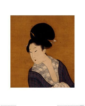 Woman at Her Morning Toilette, a Hanging Scroll Painting by Kitagawa Utamaro