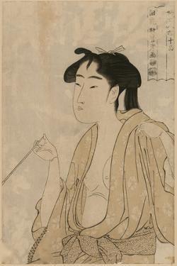 Woman Smoking a Pipe by Kitagawa Utamaro