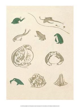 Japanese Drawing of Frogs by Kitao Masayoshi