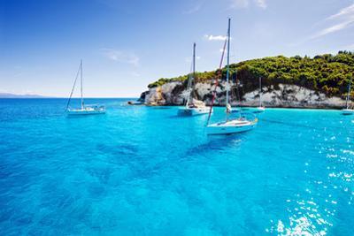 Sailboats in a Beautiful Bay, Paxos Island, Greece by Kite_rin
