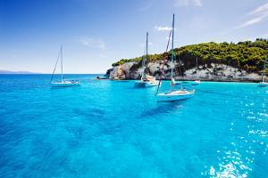 Sailboats in a Beautiful Bay, Paxos Island, Greece by Kite_rin