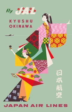 Kyushu to Okinawa - Fly JAL (Japan Air Lines) - Geisha Girls by Kiyoshi Nagai