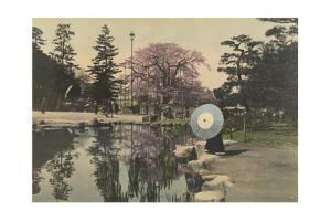 A Woman Observes the Reflection of Cherry Blossoms in a Small Pond by Kiyoshi Sakamoto