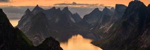 Kjerkfjorden Among Dramatic Mountain Ridges at Sunset, Lofoten, Nordland, Norway