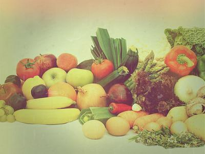 Large Display of Various Fruit and Vegetables with a Vintage Effect