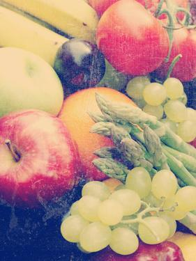 Various Fruit and Vegetables with a Vintage Grunge Effect Added by kjpargeter
