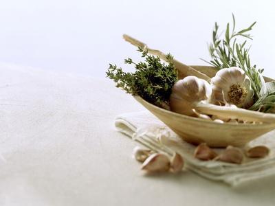 Still Life with Garlic and Various Fresh Herbs