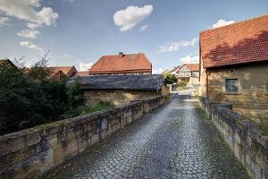 View to the Moated Castle, Irmelshausen, Bavaria, Germany, Europe by Klaus Neuner