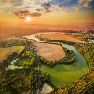 Beautiful Sunset over Czech Valley Reservoir in the Litice Suburban District of Pilsen. Aerial View by Kletr