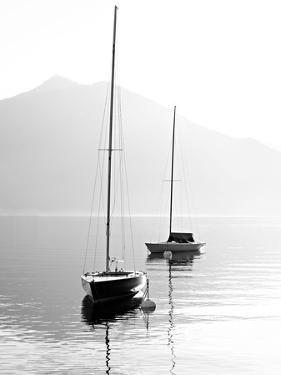 Two Sail Boats in Early Morning on the Mountain Lake. Black and White Photography. Salzkammergut, A by Kletr