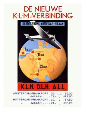 KLM Royal Dutch Airline World Poster