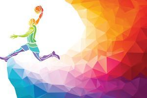 Polygonal Geometric Style Illustration of a Basketball Player Jump Shot Jumper Shooting Jumping Vie by Kluva