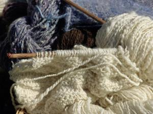 Knitting Needles and Handspun Wool Yarn at a Yorktown Reenactment, Virginia