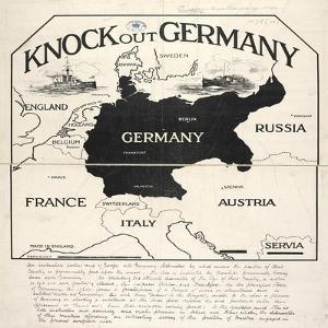 Knock Out Germany, An Instructive Partial Map of Europe with Germany Silhouetted, 1914