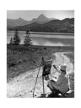 A Woman Is Painting at the Weißensee Near Füssen, 1934 by Knorr Hirth Süddeutsche Zeitung Photo
