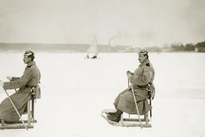 Berlin Police Officers on Sleds, 1914 by Knorr Hirth Süddeutsche Zeitung Photo
