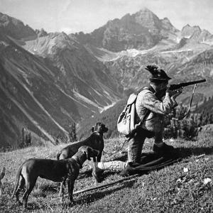 Huntsman with Two Dogs, Ca. 1935 by Knorr Hirth Süddeutsche Zeitung Photo