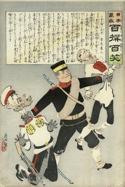 A Japanese Soldier Strangles Two Russian Soldiers by Kobayashi Kiyochika