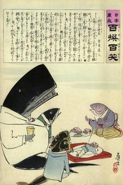 A Whale and Three Fish Sitting Down to a Formal Dinner of Russian Sailors by Kobayashi Kiyochika