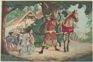 Departure of the Warrior Kusunoki at the Sakurai Station, C. 1880-1899 by Kobayashi Kiyochika