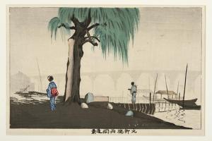 Distant View of Ryogoku from Motoyanagi Bridge, 1880-82 by Kobayashi Kiyochika