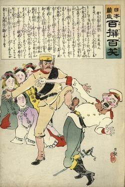 Japanese Soldier Kicking Russian by Kobayashi Kiyochika