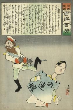 Miss Jiuliancheng and the Russian Soldier by Kobayashi Kiyochika