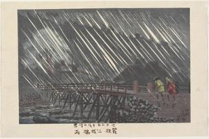 Rain at Saegusa Bridge in Hakone, Ame, 1880 by Kobayashi Kiyochika