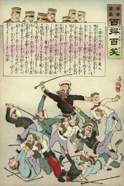 Russians Fight Amongst Themselves as Japanese Soldiers Look on and Laugh by Kobayashi Kiyochika