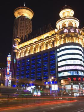 Car Light Trails and Illuminated Buildings, Peoples Square, Shanghai, China by Kober Christian